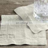 stone washed linen cocktail napkins with dot hemstitch in white,gray,blue,charcoal colors