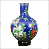 Antique Vintage Peaches &Pear Flowers Cloisonne Vase With Blue/White Color