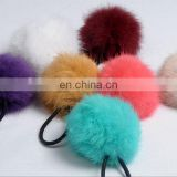 Cute Elastic Hair Ring with rabbit fur pom poms
