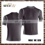 100%bamboo fiber mens skin tight short sleeve gym sports t-shirt soft cover stitch slim fit running t shirts