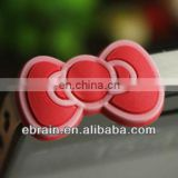 silicone bowknot shaped earphone plug,Fashion earphone Dust Plug ,promotional cartoon earphone plug