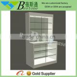 Single floor standing jewelry glass tower display case for ring/ glass jewelry display table