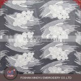 New special design white chemical embroidery cotton garment lace fabric on chiffon for lady dress