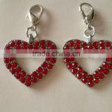 Wholesale Zinc Alloy Metal Heart Shape Charm Rhinestone Heart Pendant