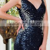 Ladies shiny sleeveless beaded blue prom sexy backless famous designer beautiful deep V-neck Evening Dresses