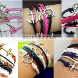 CB8174 china wholesale New design personalize different styles jewelry braided leather bracelet