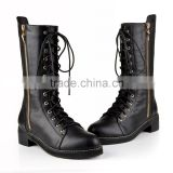 Lace up ankle boots women side zipper women winter shoes women black chunky flat boots leather combat boots