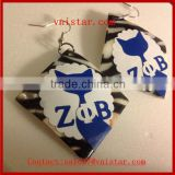 Vnistar new arrival zeta phi beta square earrings cute greek ZPB jewelry cheap wholesale