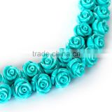 Nice Blue #24 Color Synthetic Turquoise Carved Rose Howlite Coral Flower Carving Loose Beads 20 pcs per Bag For Jewelry Making
