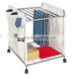 Mobile Trousers Rack, Metal Laundry Trolley, Laundry Cart with casters
