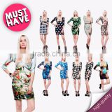high quality dress fullprint 3D digital ready stock custom sublimation print for Women ladies fashion dress