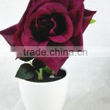 cheap wholesale mini artificial rose bonsai with plastic pot