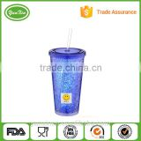 "BPA free double wall 16oz insulated plastic glasses tumbler filled with gel ""imitation ice"" and sillicone rubber"