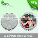 Factory Wholesale mini compact DIY round heart shaped sublimation blank make up mirror