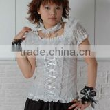 Cotton White Lace Short sleeve Cotton Lolita Blouse 81050