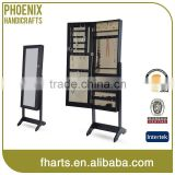 Floor standing black jewelry armoire with full mirror