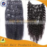 Hot Sale Alibaba Express In Spanish Wholesale Unprocessed Afro Kinky Curly Clip In Hair Extensions/Clip In Hair Extension