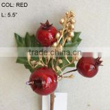 "2014 New Artificial Christmas Red Flower Pick 5.5"" Artificial Fruit Pom With Berries And Leaf"