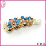 Korea large funny diamond Crystal decorative gold plated Banana hair clips with rhinestone flower