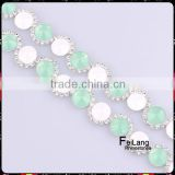 Feilang Cone shaped acrylic cup chain with White and green beads