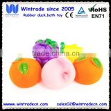 Customized lifelike vinyl fruits, hot sale vinyl squirt baby toys, life size pvc baby toys