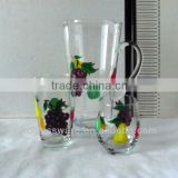 Clear hand made hand painted christmas glassware set (pitcher and glass cup)