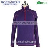 Women Running Outerwear Micro Polar Soft Shell Fleece Shirt Pullover with Half Zip