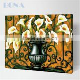 Bona Oil Painting By Numbers Kits White Lily Flowers Painting