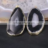 Large Size Black Agate Slice Pendant, Gold Plated Edged Agate Drusy Gemstone Pendant for Jewelry Necklace