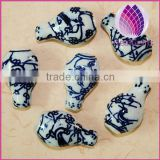 2015 whole sale artificial for DIY jewelry making Bead porcelain white and blue 12X25mm bottle shape 20pcs per bag