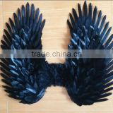 Adults' Black Costume Feather Angel Wings Point Up or Down