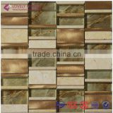 2015 China New Type Liner Glass Mixed Metal Tiles for TV Wall/Kitchen Wall/Bar Decoration