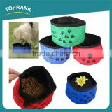 Wholesale colorful waterproof 600D travel dog bowl, disposable collapsible pet dog travel bowl