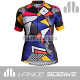 2014 New Style Women Sublimation Printing 100% Polyester Cycling Tops Custom Cycling Jerseys Bike Shirt