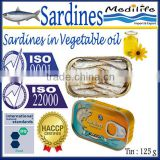 Sardines in Vegetable Oil, Sardines in Vegetable Oil canned, 100% High Quality of Fish, 125 g Tin
