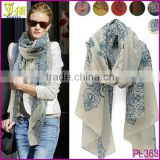 Retro Women Flora Flower High Quality Cotton Scarf Wrap Ladies Shawl Girls Large Silk Scarves