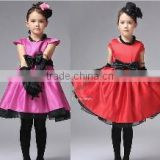 2014 Kids Girls Dress cute Rose Red/Red Princess Clothing With Bow Elegant Children Party Formal Dress 20087