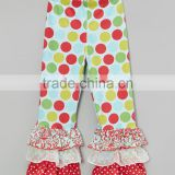 Newest Autumn Girl Pants With Jolly Polka Dot Triple Ruffle Casual Trousers Fancy Kids Clothes Z-PT80804-8