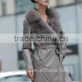 Fashion women long natural leather jackets with full animal fur collar in front