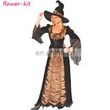 Spooky Witch Costume Womens Witches Halloween Horror Fancy Dress Outfit
