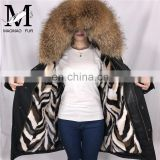 High Quality Short Military Woman Real Fur Parka Genuine Raccoon Fur Hood with Mink Fur Lining Coat