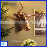 Home or Office Resin Gold Ox Head Statue decoration on Wall