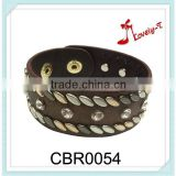 New arrival wide one round one layer hip hop press stud PU leather hand made crystal bracelet with rivets