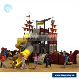 Children outdoor playground equipment with cheap playground slide / wooden pirate ship playground