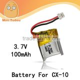 RC Helicopter Spare Parts For Quadcopter Cheerson CX-10 CX 10 3.7V/100mAh Li-PO LiPo Battery