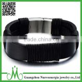 Mens Womens Fashion Black Genuine PU Leather Rope Stainless Steel Silver Magnetic Clasp Bracelet