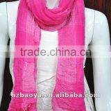 Women Solid Pink Color Pashmina Shawl Wraps Scarf