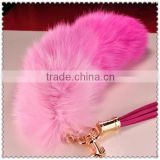 Dyed Color Genuine Fox Tail Keychains With Leather Tassels