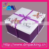 custom printed luxury cake paper box with ribbon