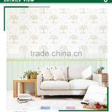 stocklot non woven wallpaper, vanilla yellow for kids tree wall covering for kids room , fireproof wall sticker maker